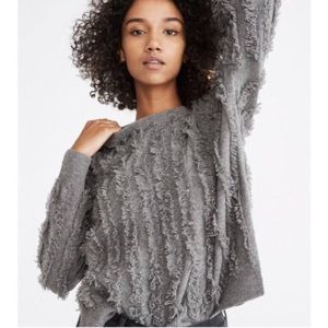 Madewell 100% Wool Grey Striped Fringe Sweater